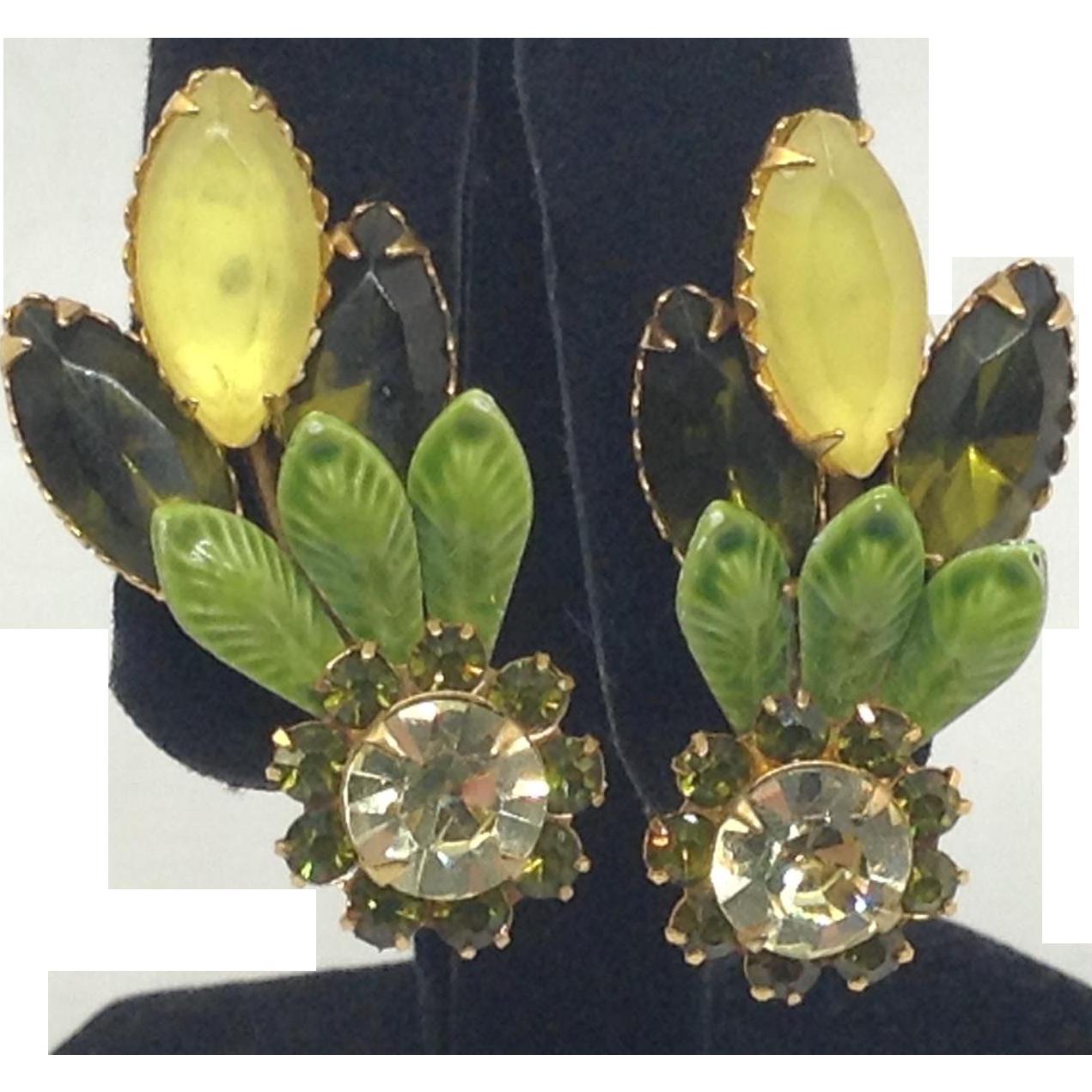 Spring Summer Fall Earrings Green Enamel Leaf Overlay  & Rhinestone Clips
