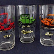 Hazel Atlas Old Car Highball Tumblers Circa 1950s
