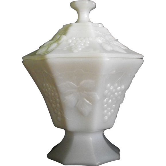 anchor hocking milk glass candy in grape pattern circa