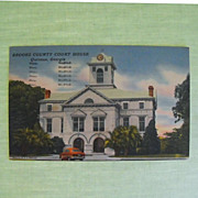 Postcard: Brooks County Courthouse: Quitman, Ga. C: 1953