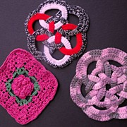 Three Pot Holders Crocheted and Knitted