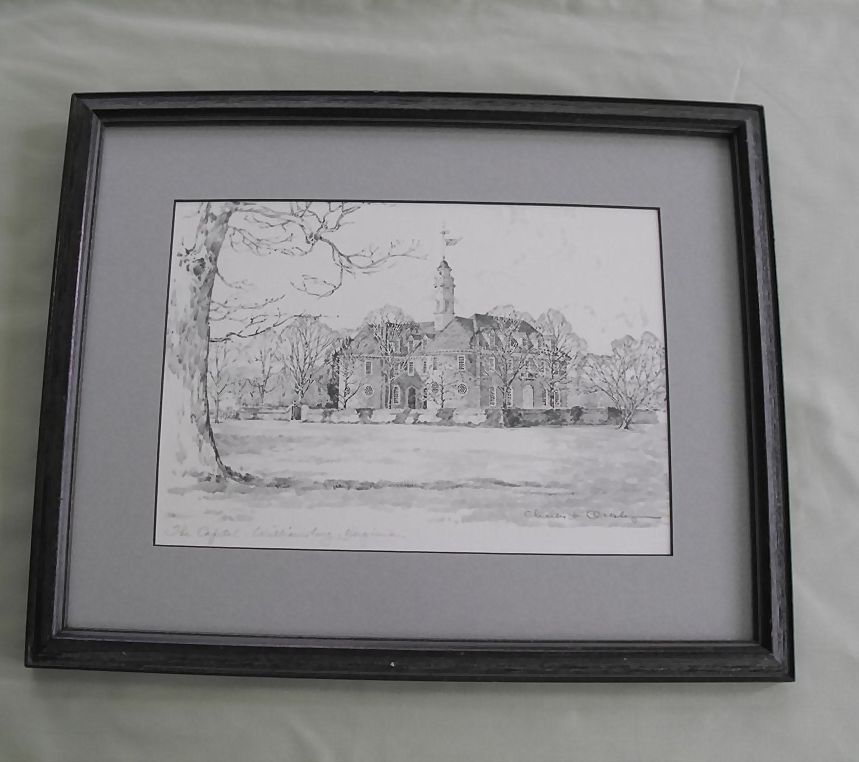 "Print of Charles H Overly pencil sketch of ""The Capital, Williamsburg, Virgina""  signed"