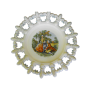 Milk Glass Plate in Fleur De Lis Pattern with Center Scene : Circa: Mid Century