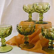 Imperial Glass Sherbert Stemware Provincial Verde  (set of 5)             Circa 1960s