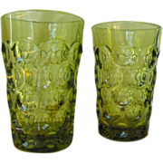 Imperial Glass Juice Glasses Provincial Verde (2)          Circa 1960s