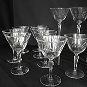 Vintage Etched Glassware Sherberts (set of 10)          Circa: 1950s