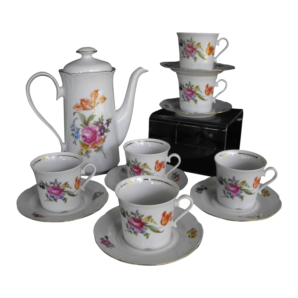 J L Menau Henneberg coffee set with six cups and saucers