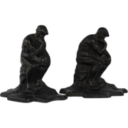 """Cast iron bookends """"The Thinker""""                     Circa: 1930s"""