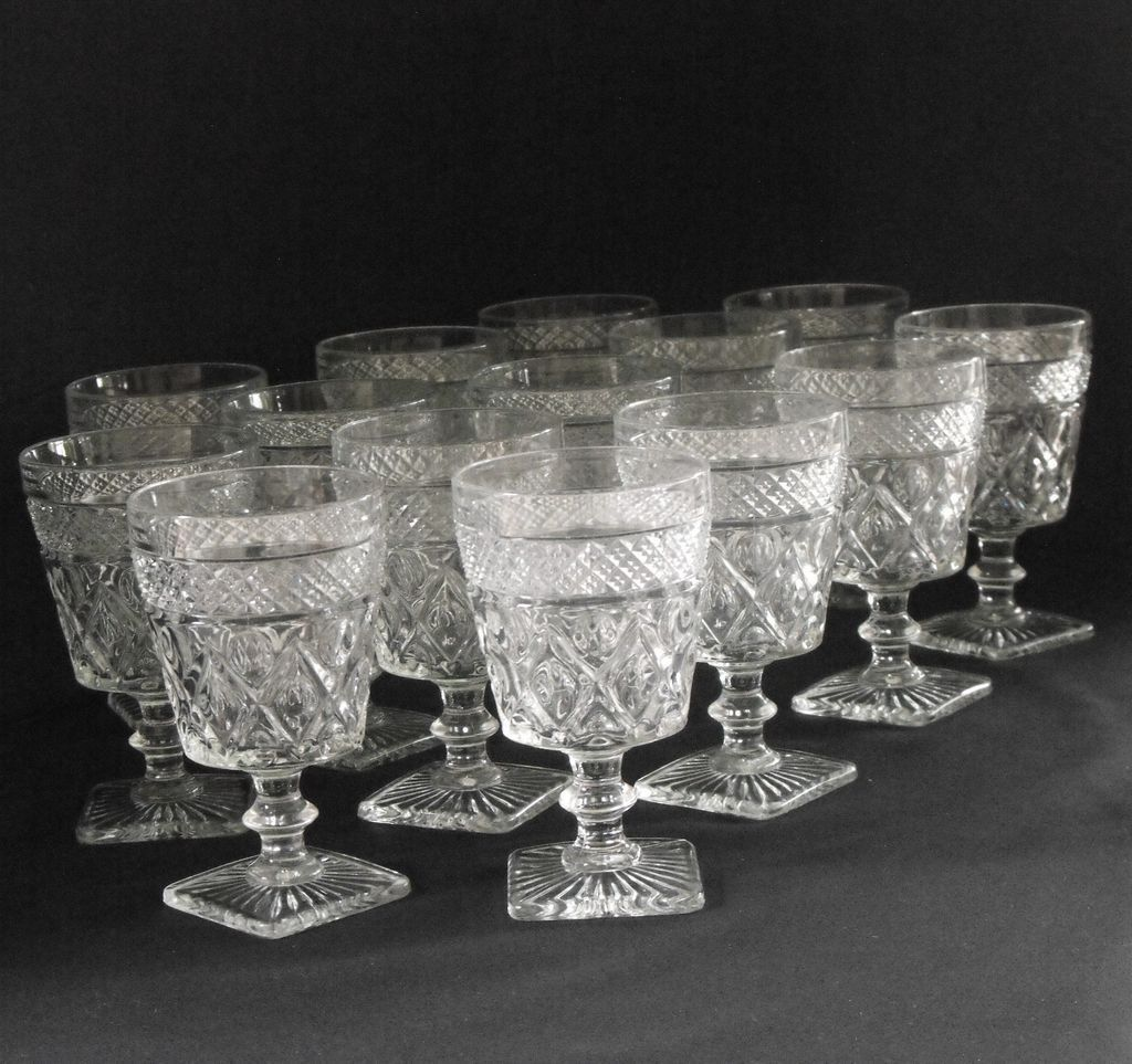 Imperial Glass Cape Cod Water Goblet W/wafer Stem Set 12
