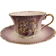 Antique Royal Bavarian portrait cup and saucer        circa 1890