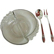 3 piece set:Teardrop Relish by Ducan Miller with silver fork and spoon