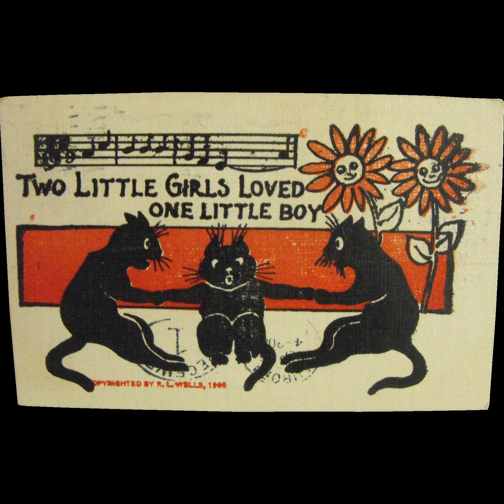 Black Cat Card by R. L. Wells               Circa: 1906