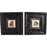 Vintage needlepoint horses:framed     Circa 1940s