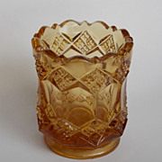 "Imperial Glass IG ""3 IN ONE"" Amber Toothpick Holder"