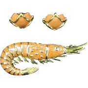 Landau High Quality Shrimp Pin and Earrings - Outstanding!