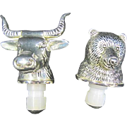 Bull and Bear Stock Market Wine Bottle Stoppers