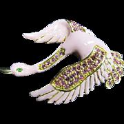 Fantastic Enamel and Rhinestone Swan Pin or Pendant - Red Tag Sale Item