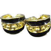 Monet Clip Ons - Goldtone with Black Enamel