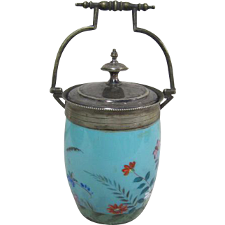 Victorian Glass Biscuit Jar - Floral Bird and Butterfly
