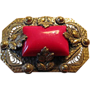 Czekoslovakian Red Glass in Brass Brooch