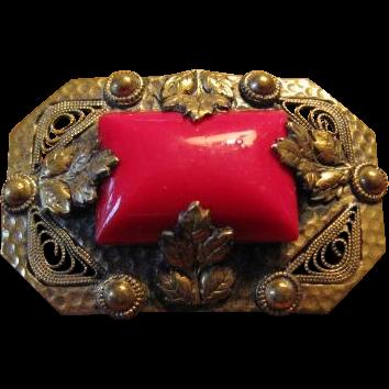 Czekoslovakian Red Glass in Brass Brooch