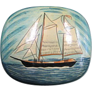 Lacquerware Trinket Box - Sailing ship motif