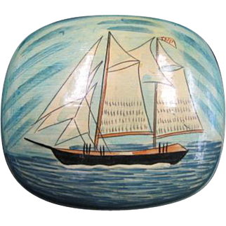 Lacquerware Trinket Box - Sailing ship motif