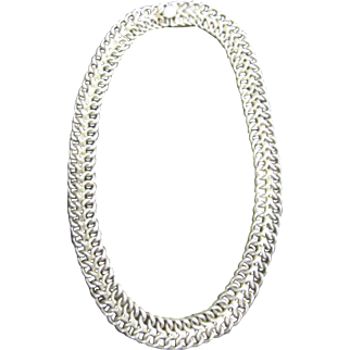 Vintage Sterling Silver Mexico 925 Heavy Choker Necklace