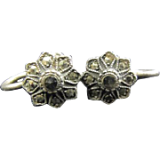 Tiny marcasite flowers - screw back earrings