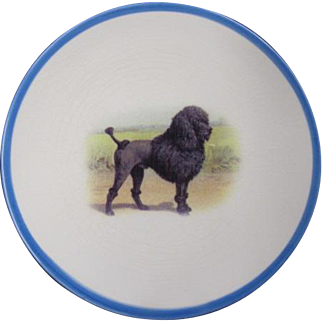 Old Plate with Vintage Poodle Graphic