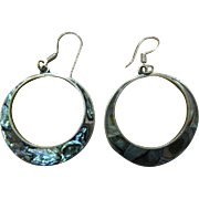 Silver hoop earrings with abalone