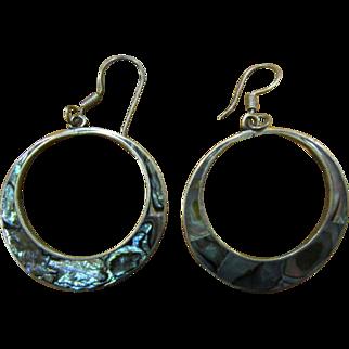 Silver hoop earrings with abalone