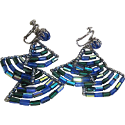 Vendome Tiered Dangle  Earrings Blue tube beads