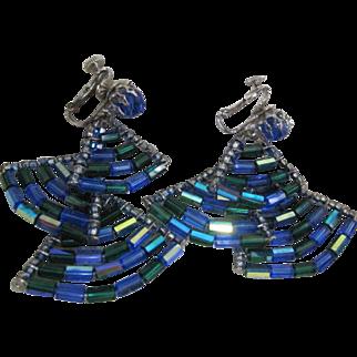 Vendome Tiered Dangle  Earrings Blue tube beads