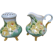 Footed Sugar Shaker and Creamer - Gold Embelished