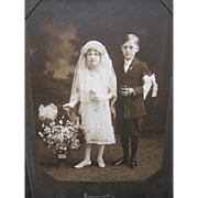 VIntage Photograph Little Girl and Boy - Bride and Groom?