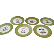 Guillot Mushroom Plates Hand Painted France  Set of 6
