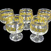 Culver LTD Set of 5 Brandy Snifters Antigua 22k gold