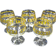 Culver LTD Set of 5 Brandy Snifters Antigua 22k gold