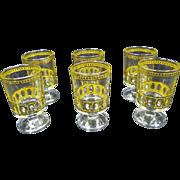 Culver LTD Set of 6 footed Shot Glasses Antigua 22k gold