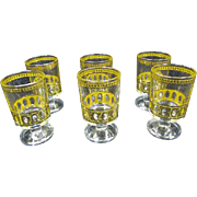 Culver LTD Set of 6 footed Shot Glasses Antigua 22k gold