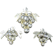 Silver Grapes Pin/Pendant with Clip on Earrings Mexico .925