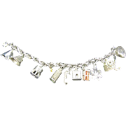 Charm Bracelet mostly Sterling - Italy Monuments, Cape Cod,  Clam, Seahorse