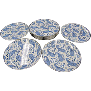Vintage Pottery Barn Partyware Enamelware Dishes Blue Paisley!! Set of 12