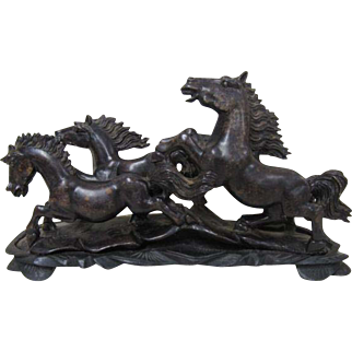 Galloping Horses Soapstone Carving