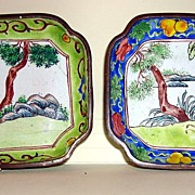 Early Chinese Enamel Over Copper Tray Dish