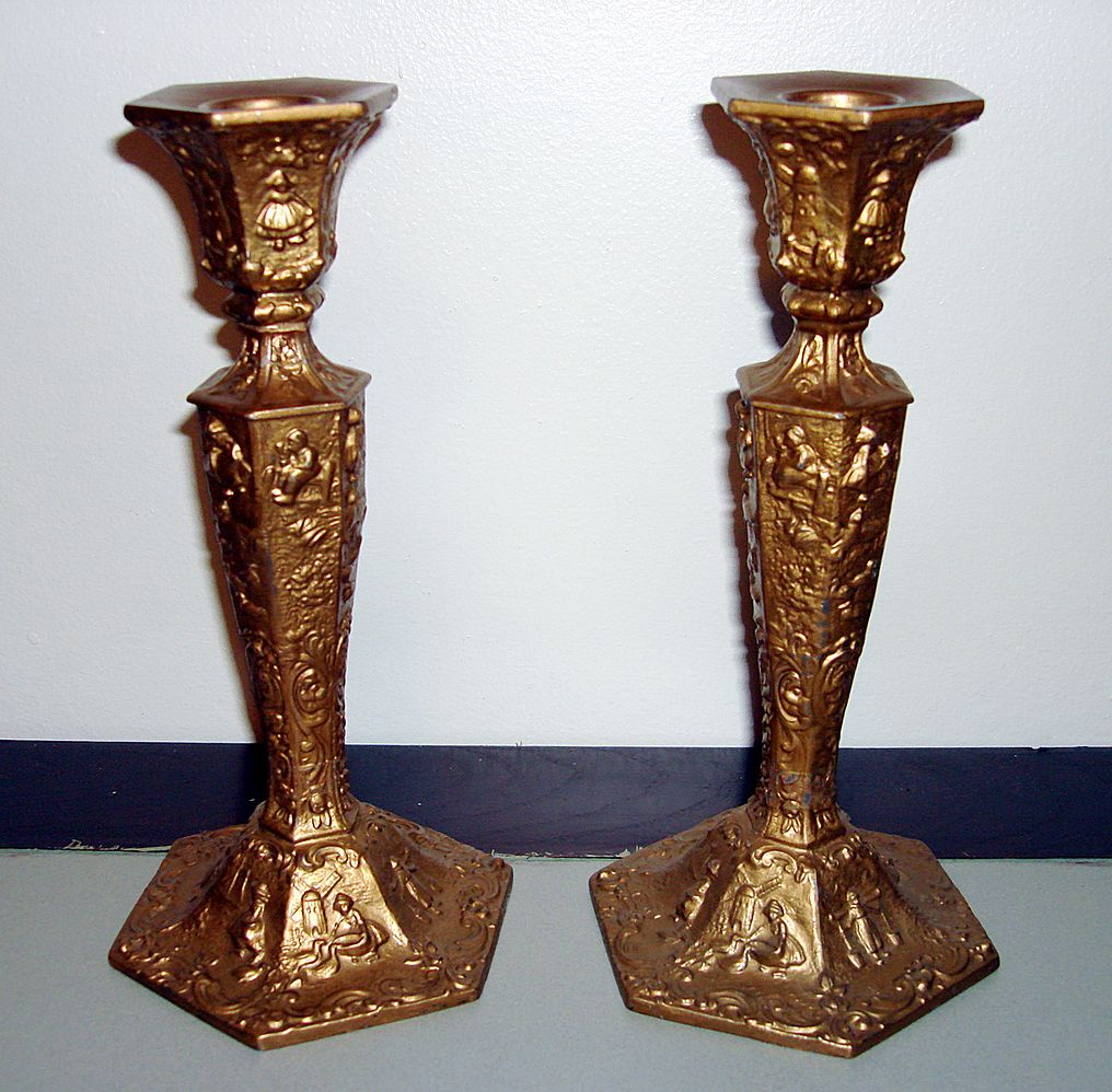 Vintage fully ornate candle holders by wb mfg co ottos treasures ruby lane