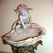 Stunning Royal Dux Centerpiece With Cherub Over Shell