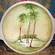 Vintage Shallow Pottery footed Bowl With Painted Trees