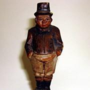 "Vintage German Miniature Hand Carved Wood Figurine ""Joe The Fat Boy"""